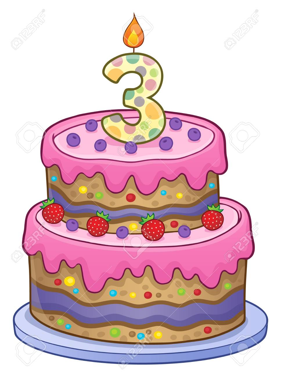 Two Layered Birthday Cake For 3 Years Old Stock Vector