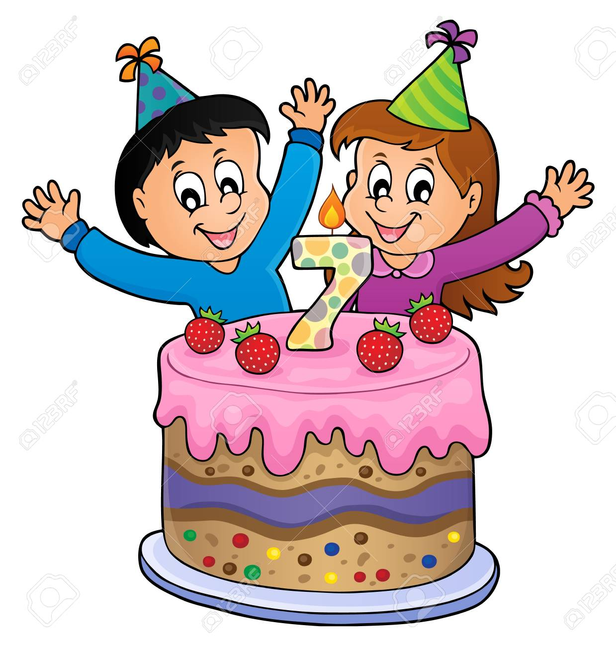 Two Kids Waving Hands In Behind A Birthday Cake With Number 7 Vector Illustration