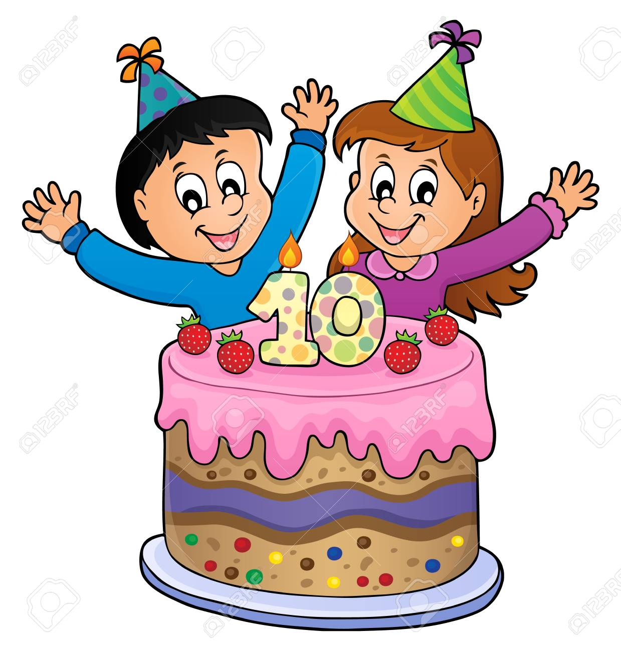 Two Kids Waving Hands In Behind A Birthday Cake With Number 10 Vector Illustration