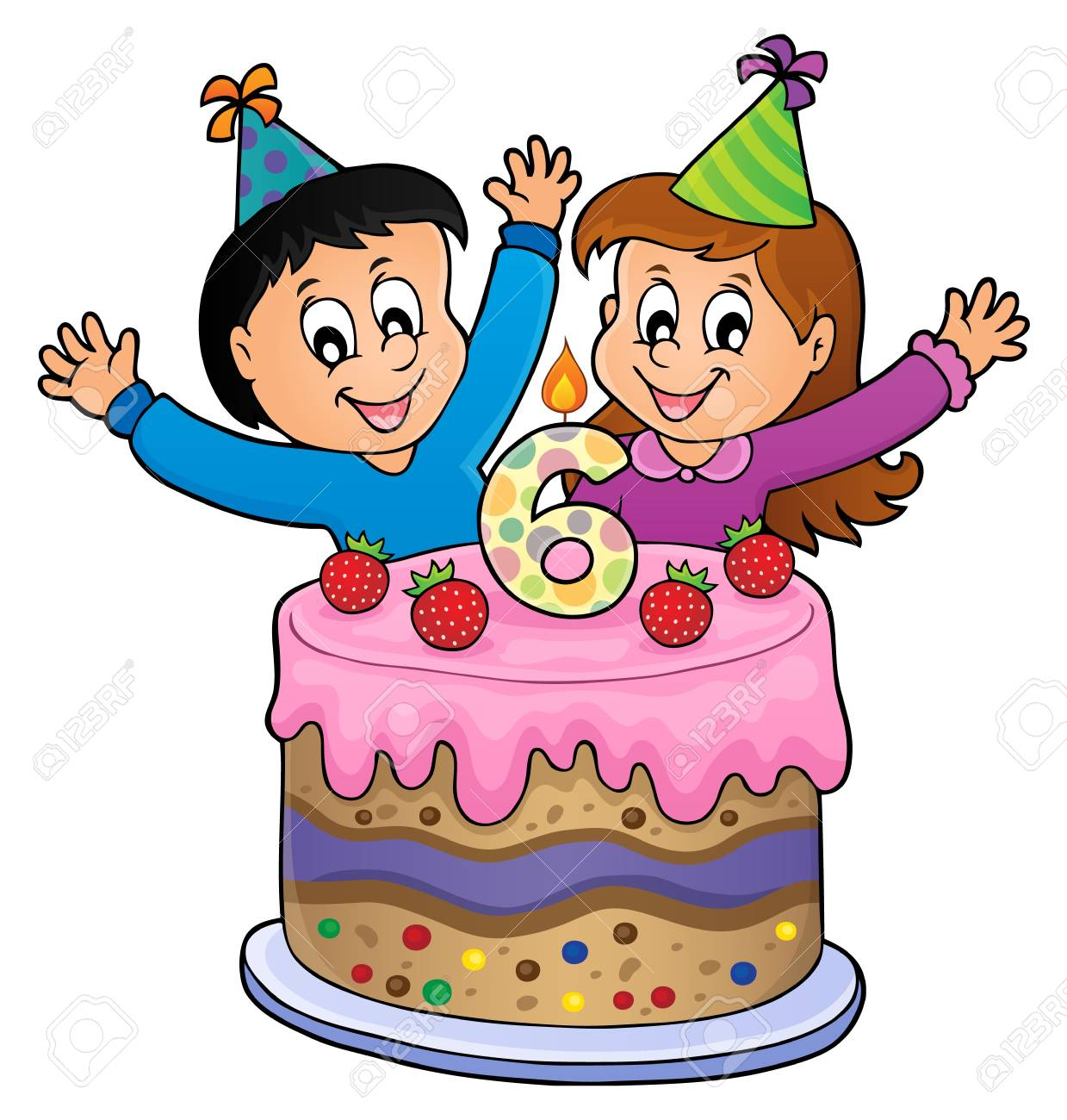Two Kids Waving Hands In Behind A Birthday Cake With Number 6