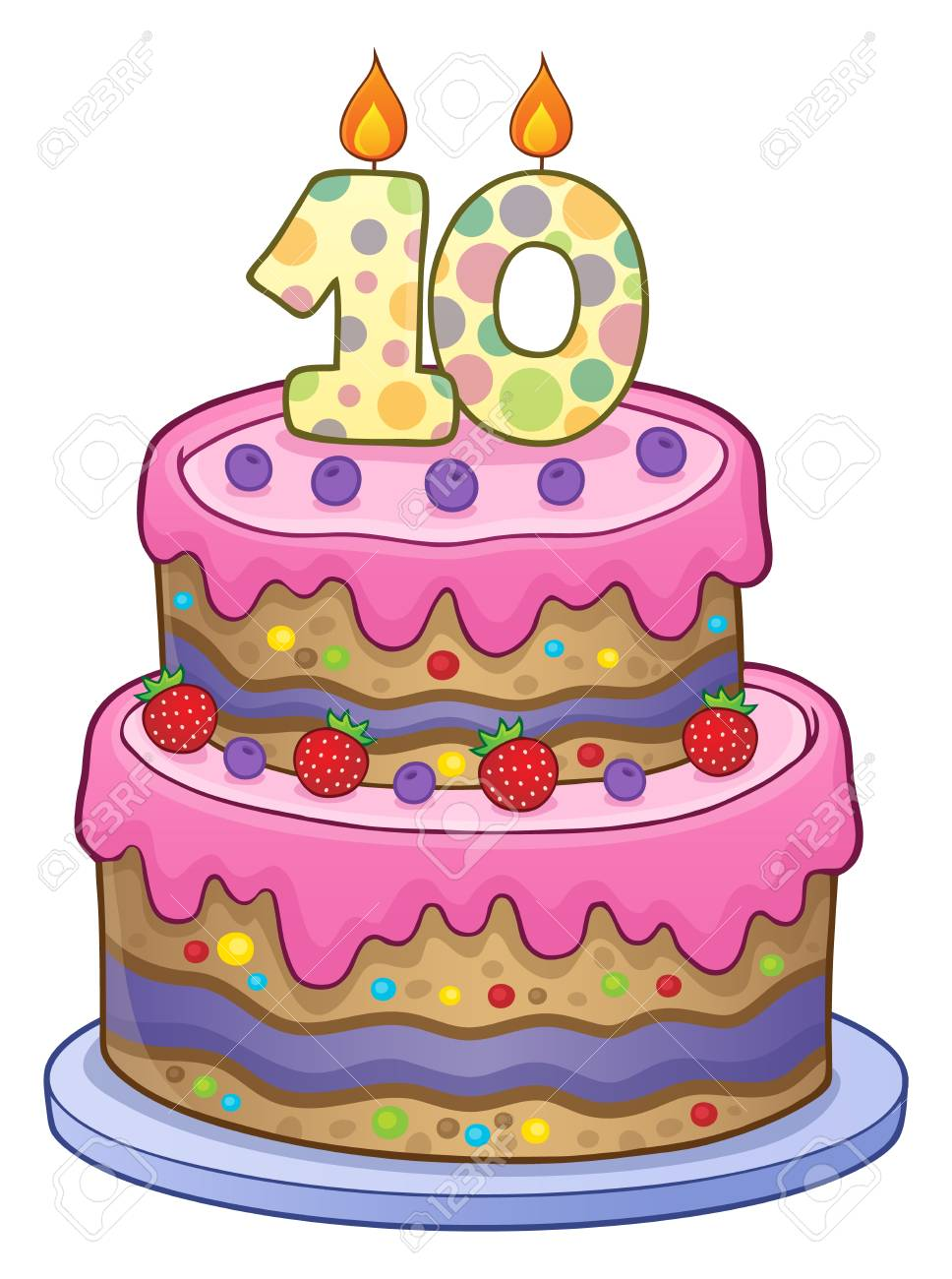 Two Layered Birthday Cake For 10 Years Old Vector Illustration Stock