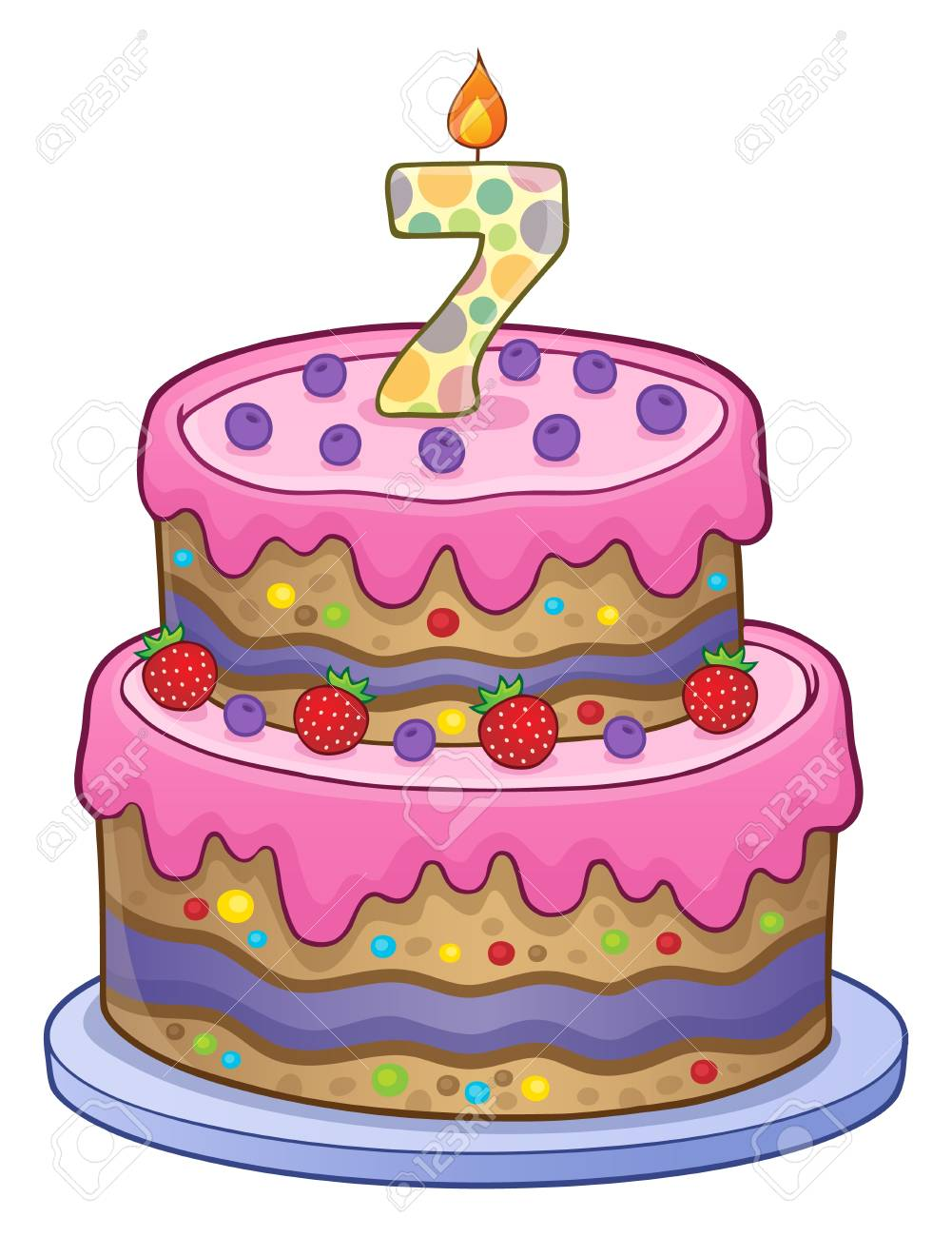 Birthday Cake Image For 7 Years Old Stock Vector