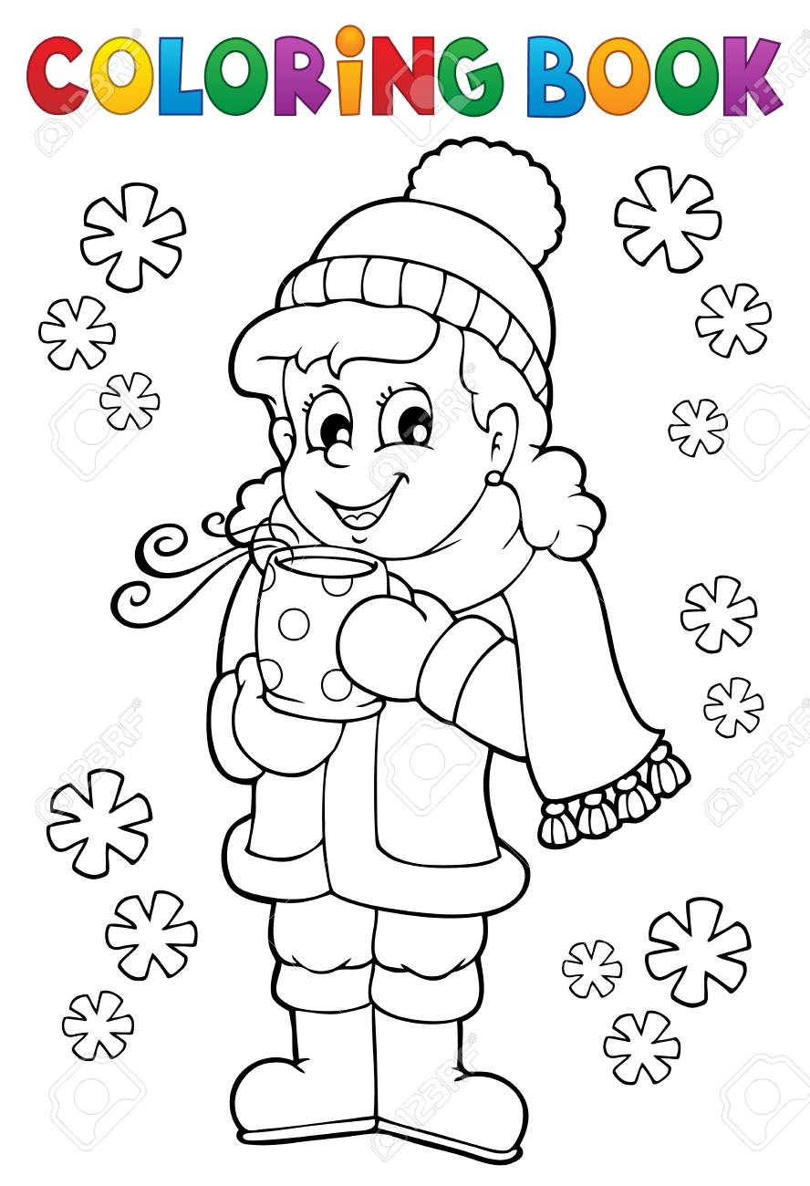 Coloring book girl in winter clothes