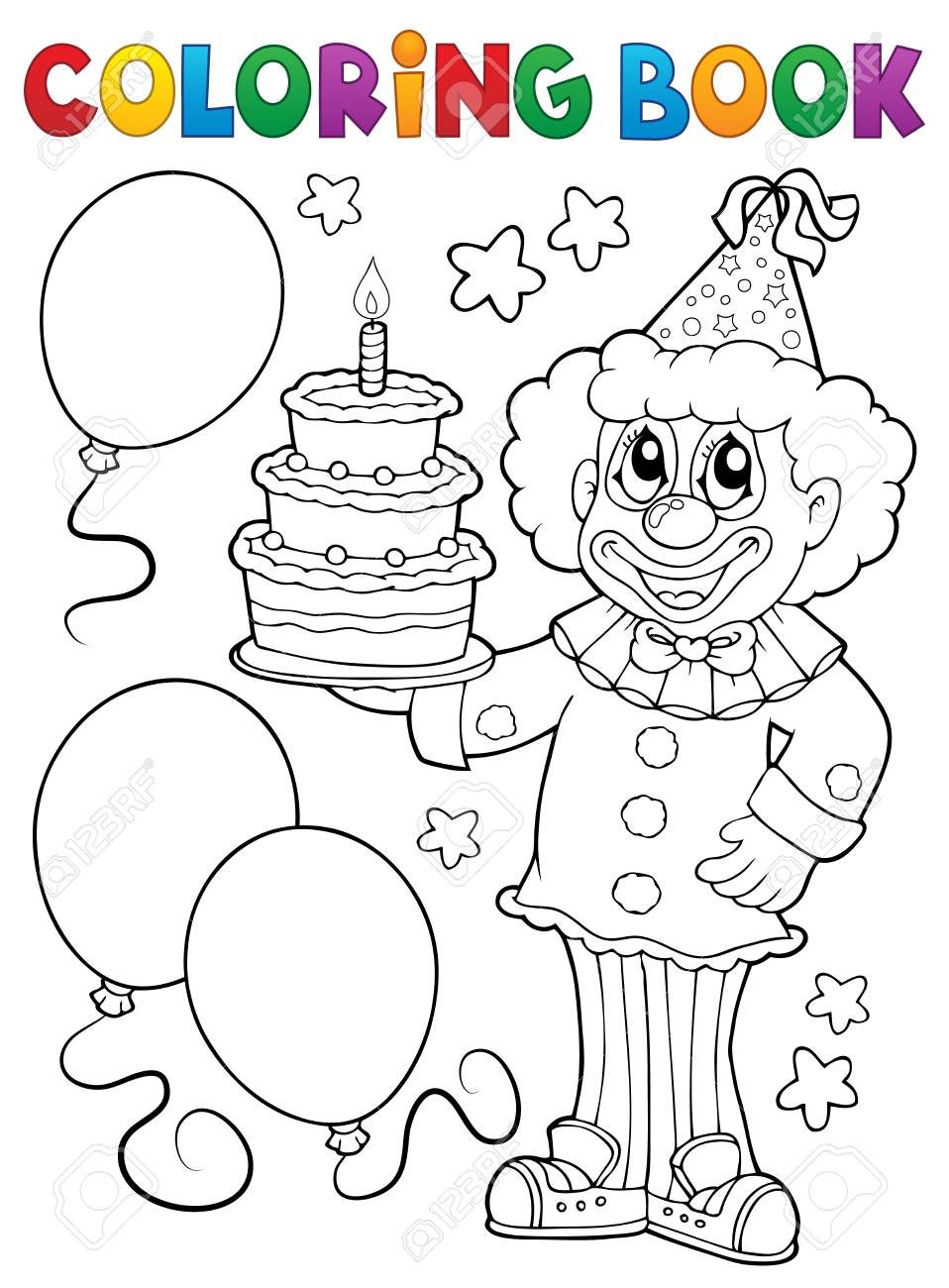 Nice Clown Holding Balloons Coloring print and color pages coloring ...