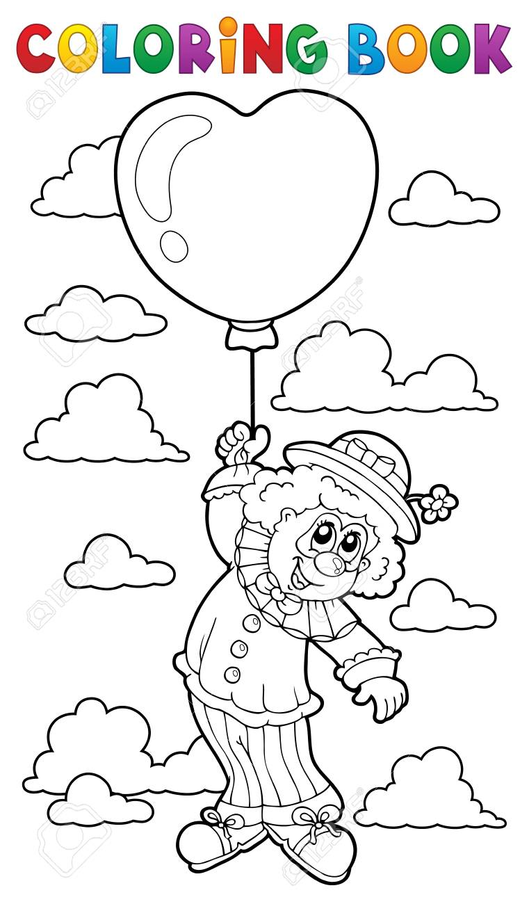 Coloring Book Clown With Balloon Royalty Free Cliparts Vectors