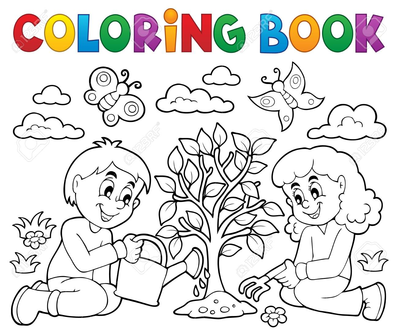 - Coloring Book Kids Planting Tree Vector Illustration. Royalty Free
