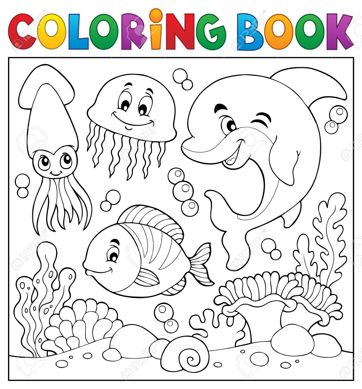 Coloring book sea life theme - 104699968