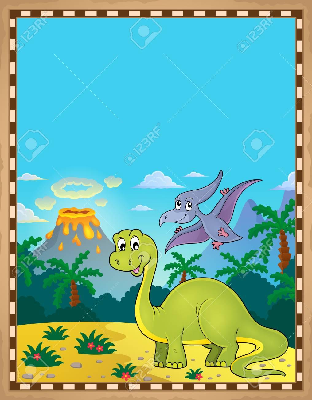Dinosaur theme parchment 1 - eps10 vector illustration. - 126513671