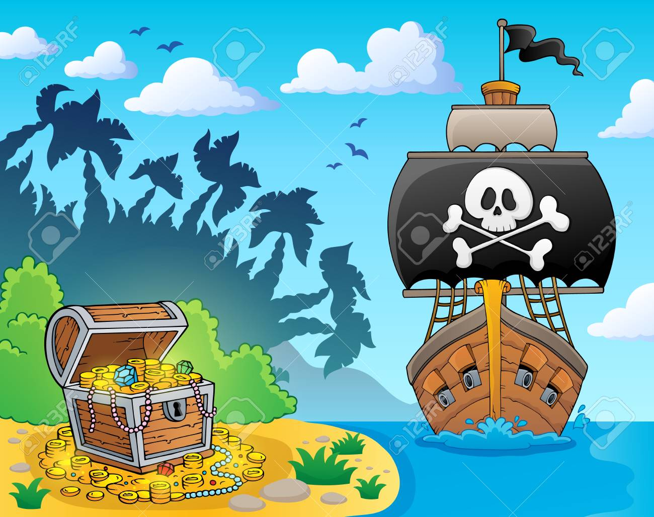 Image with pirate vessel theme 3 - eps10 vector illustration. - 125710903