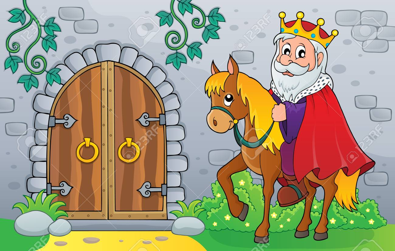 King On Horse By Old Door Theme Image Vector Illustration Royalty Free Cliparts Vectors And Stock Illustration Image 118805142