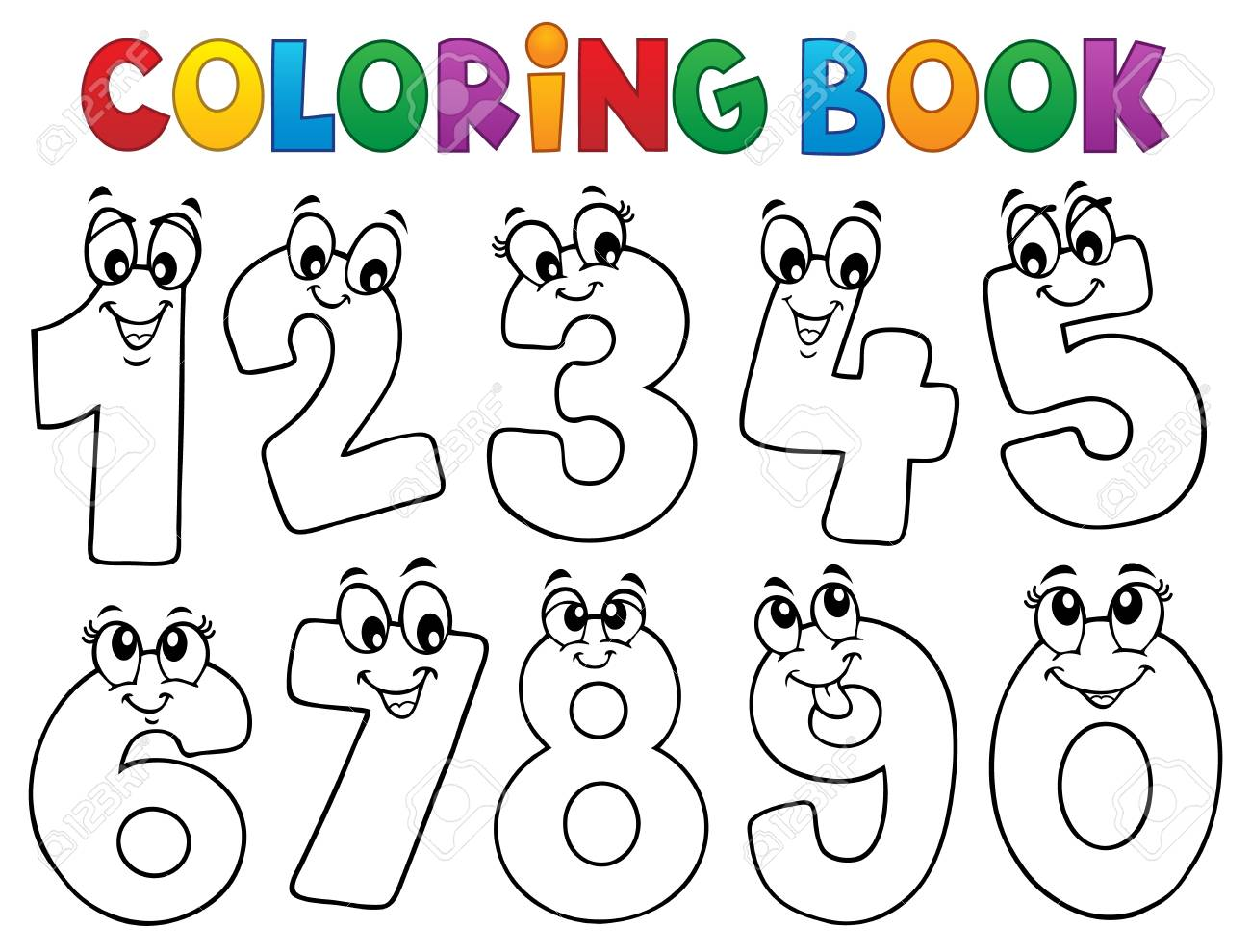 - Coloring Book Cartoon Numbers Set Illustration. Royalty Free