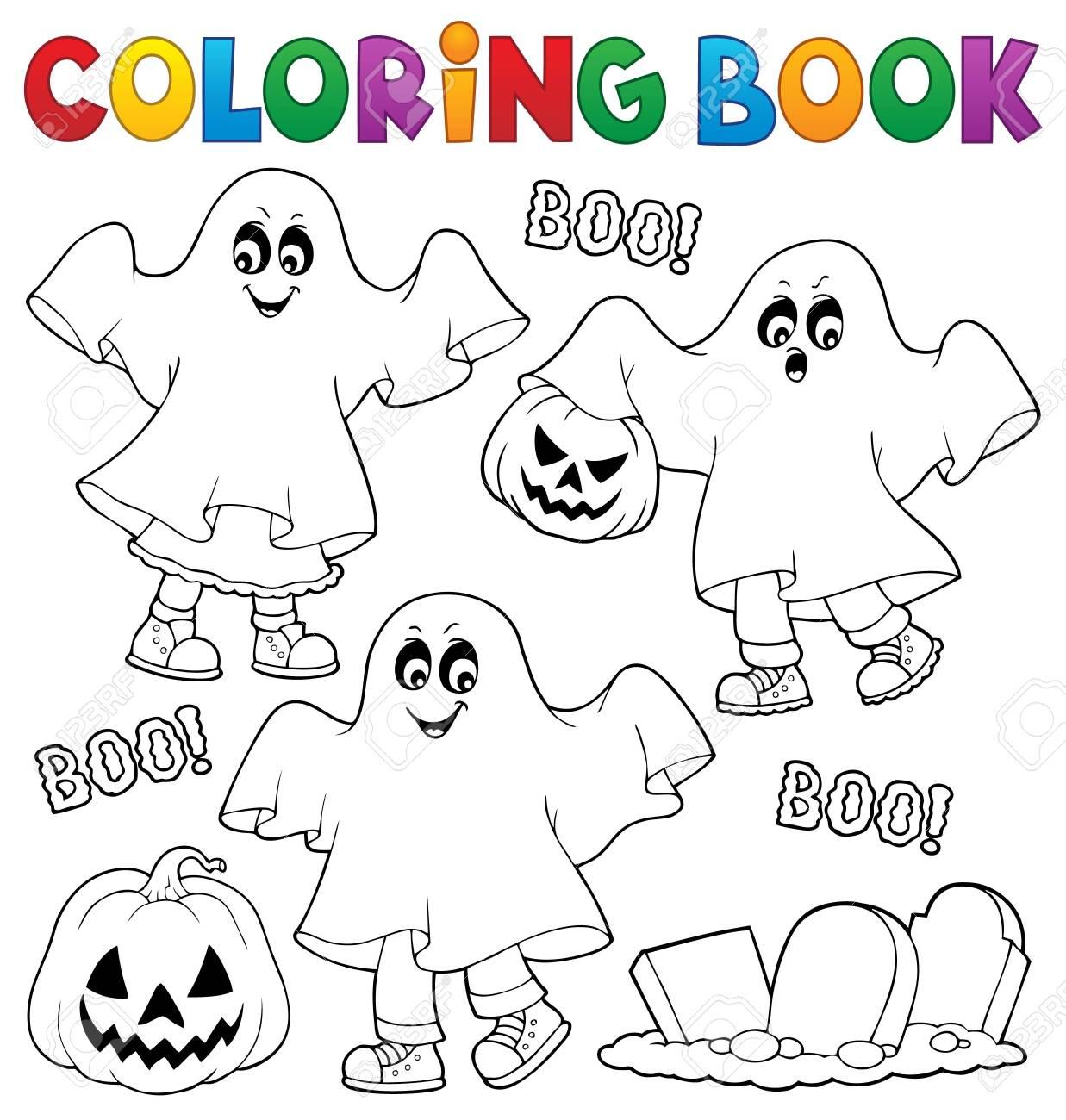 - Coloring Book Kids In Ghost Costumes Vector Illustration. Royalty
