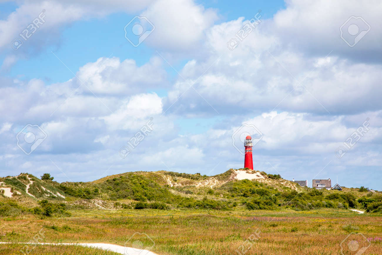 The north tower, lighthouse on the Nord Sea side at the island Schiermonnikoog in the Netherlands - 169481646
