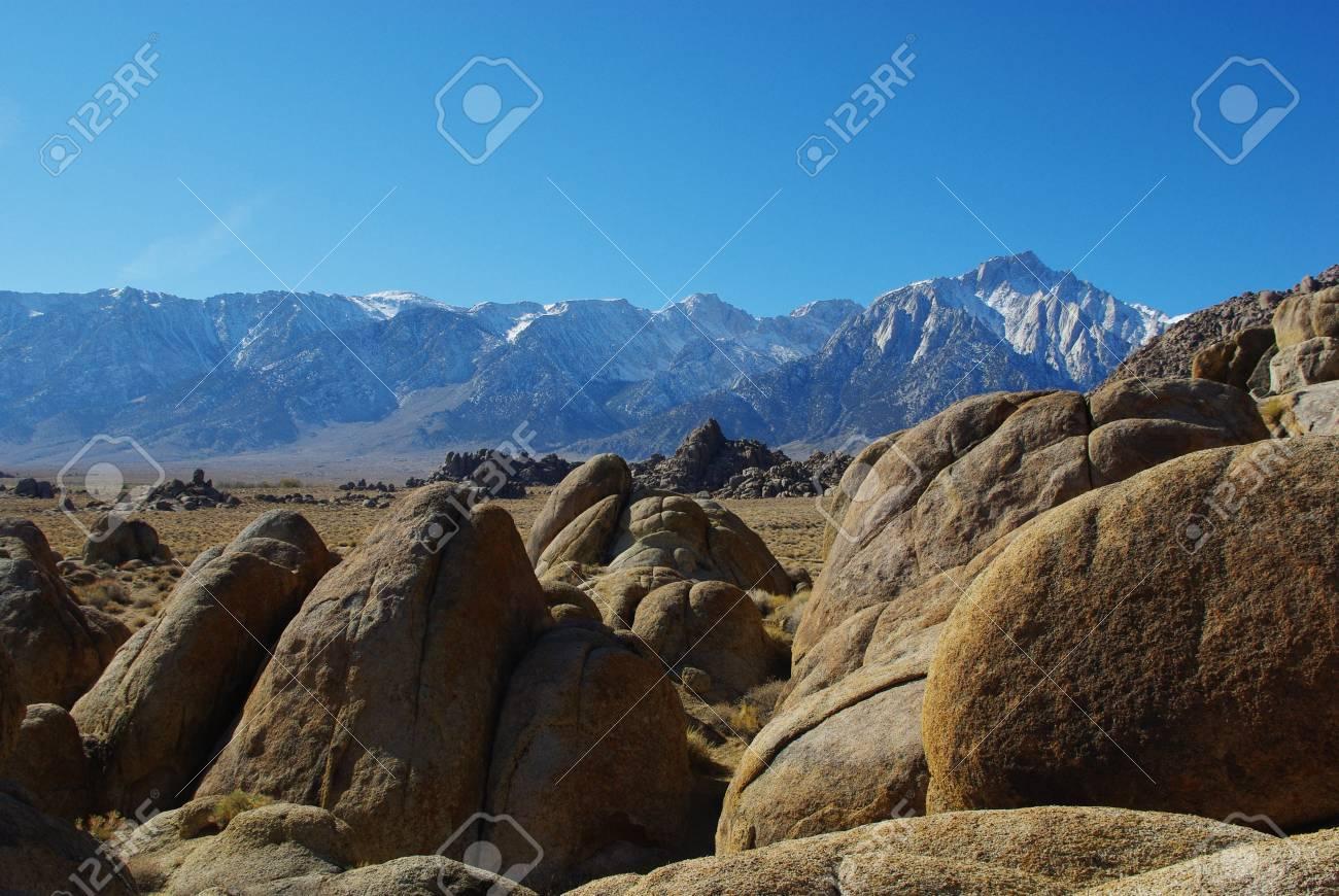 Alabama Hills with highest peaks of Sierra Nevada, California Stock Photo - 12733444
