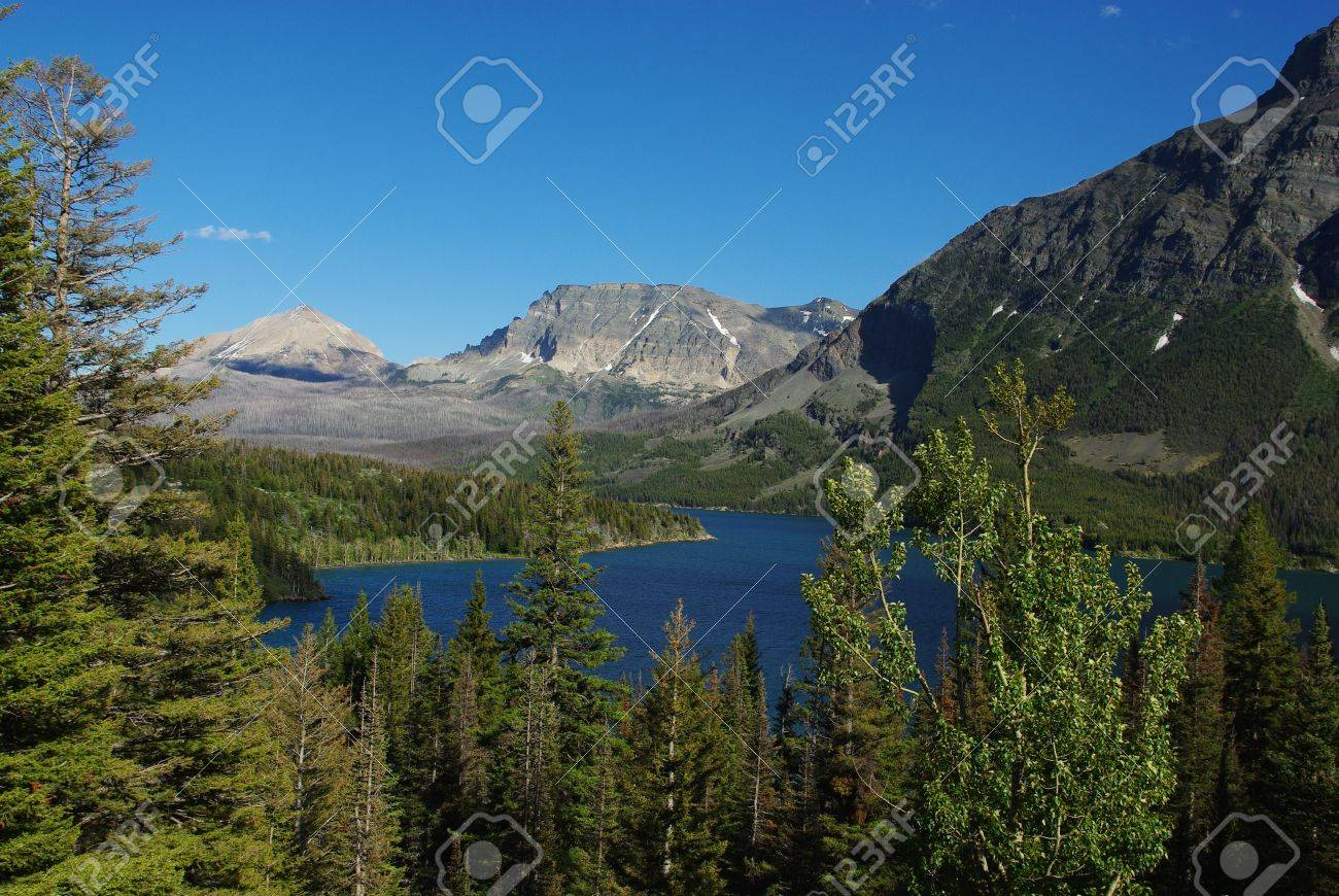Forests and Rockies around St Mary Lake, Glacier National Park, Montana Stock Photo - 12901021