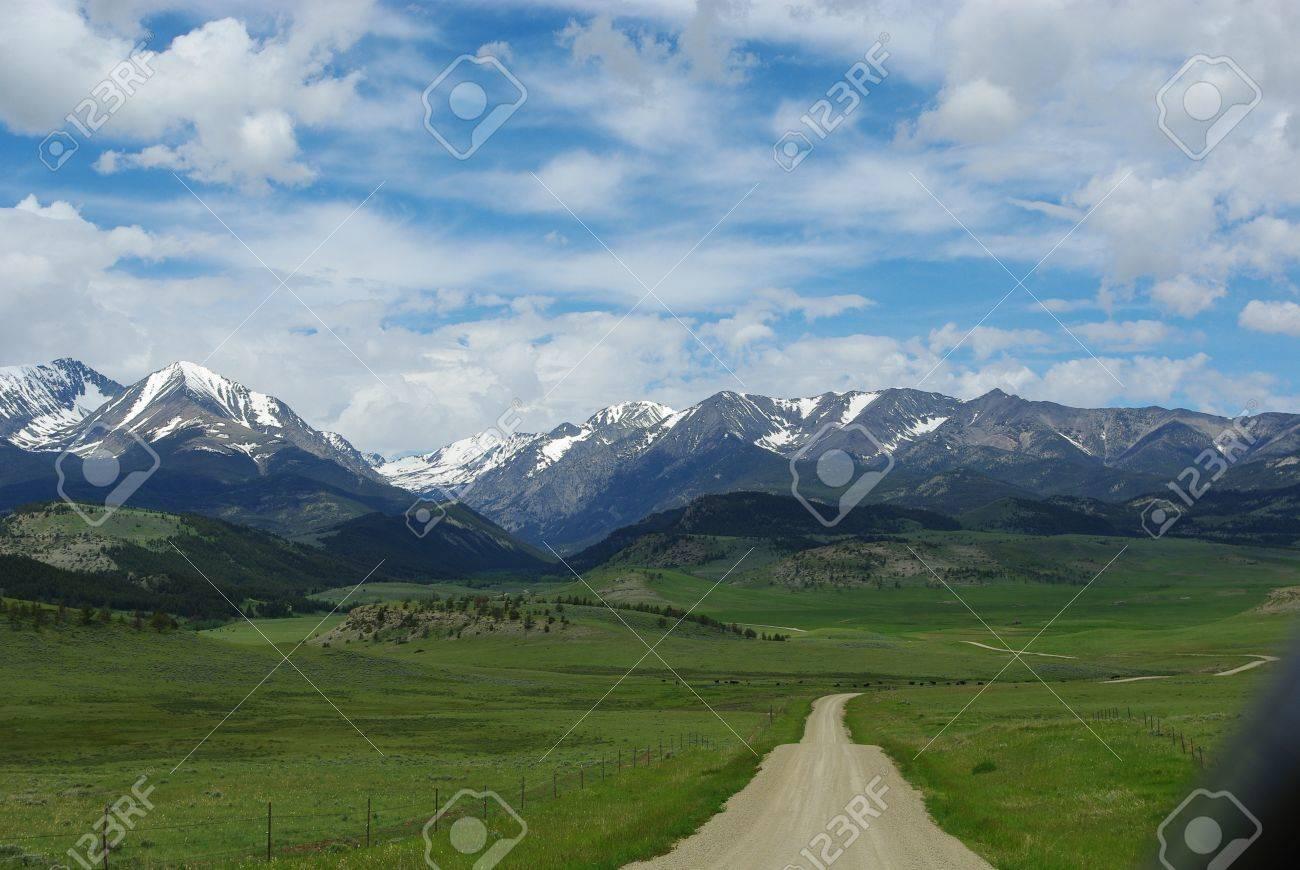 Dirt road to Bridger Range, Gallatin National Forest, Montana Stock Photo - 13174697