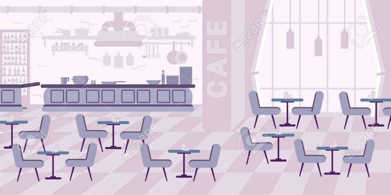 Restaurant Interior Design Flat Vector Illustration Cafe Cafeteria Royalty Free Cliparts Vectors And Stock Illustration Image 130530040