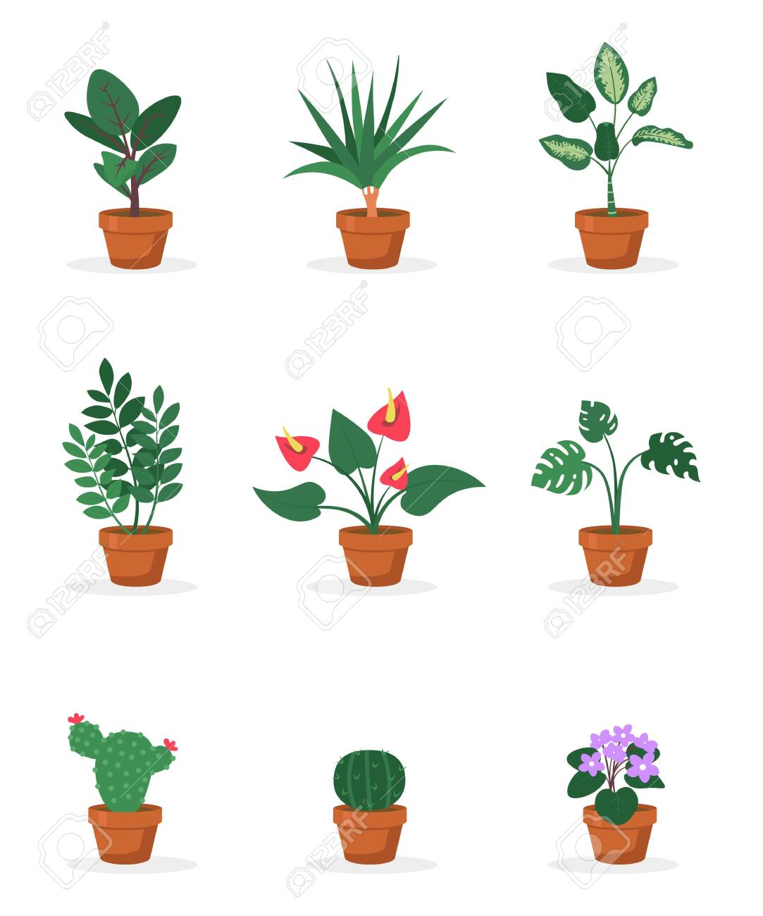 House Plants In Pots Flat Vector Illustrations Set Royalty Free Cliparts Vectors And Stock Illustration Image 130530142