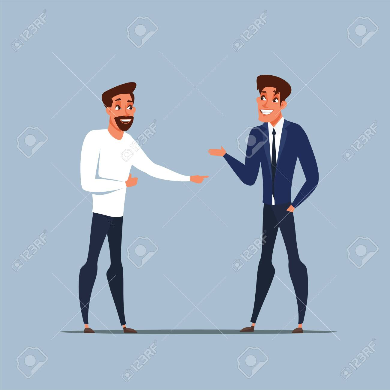 Business partners talking flat illustration - 130530335