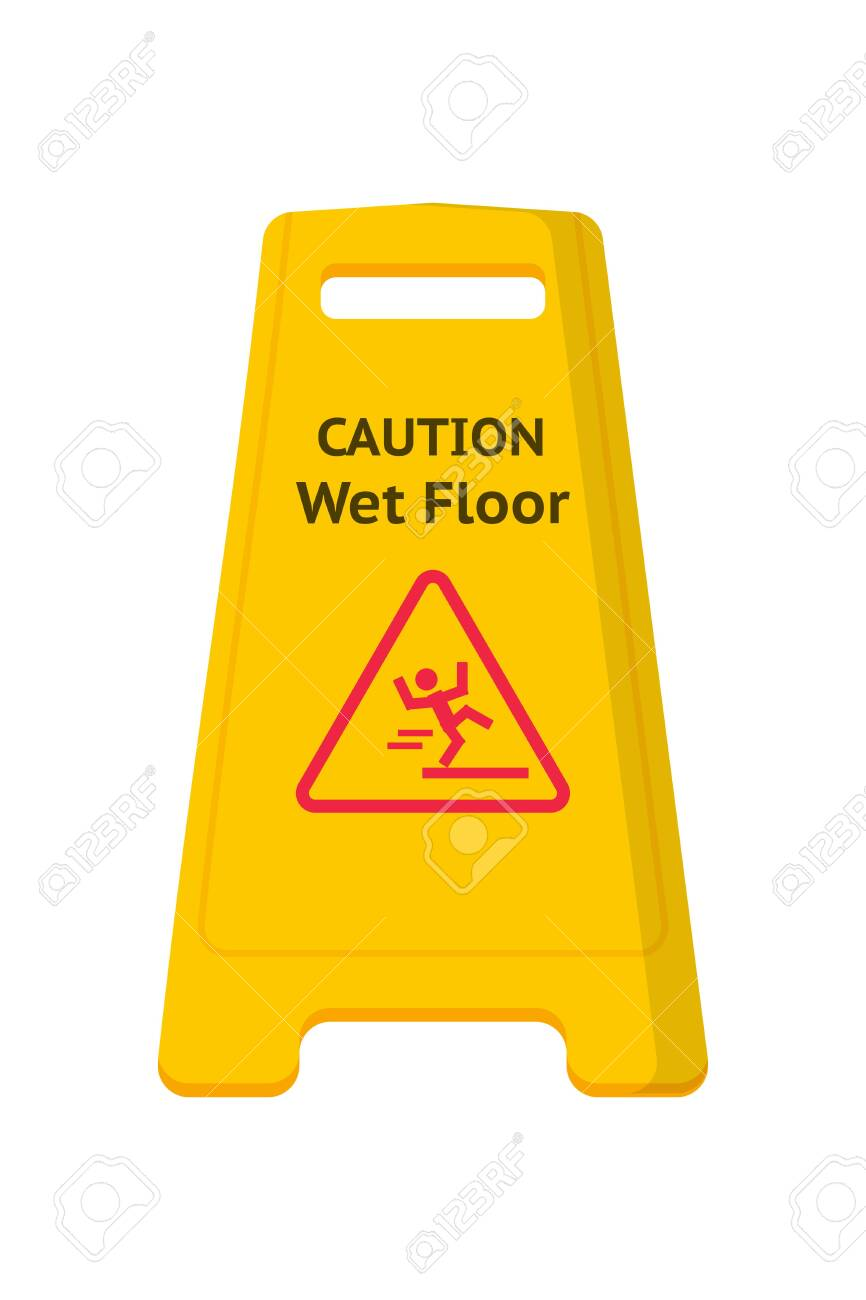 Wet floor caution sign flat vector illustration. Public warning yellow symbol isolated clipart on white background. Slippery surface beware plastic board design element. Falling human pictogram - 140432500