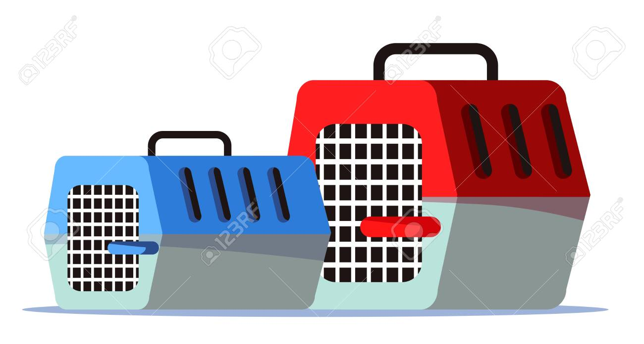 Empty pet carriers, cages flat vector illustration - 140901582