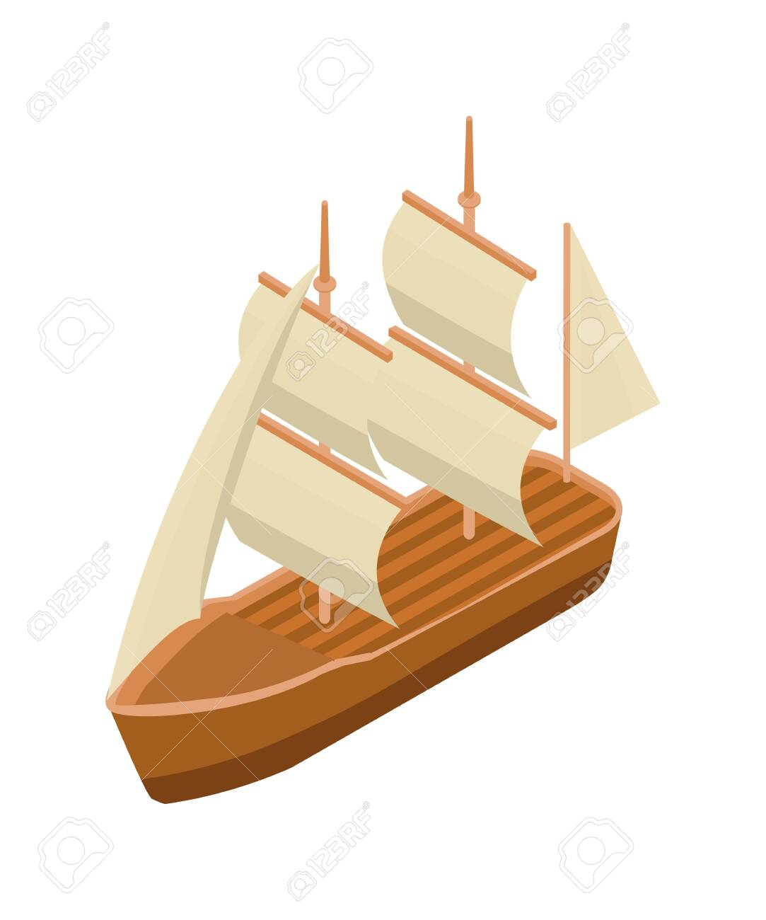 Classic Sailing Ship Isometric Vector Illustration. Old Wooden ...