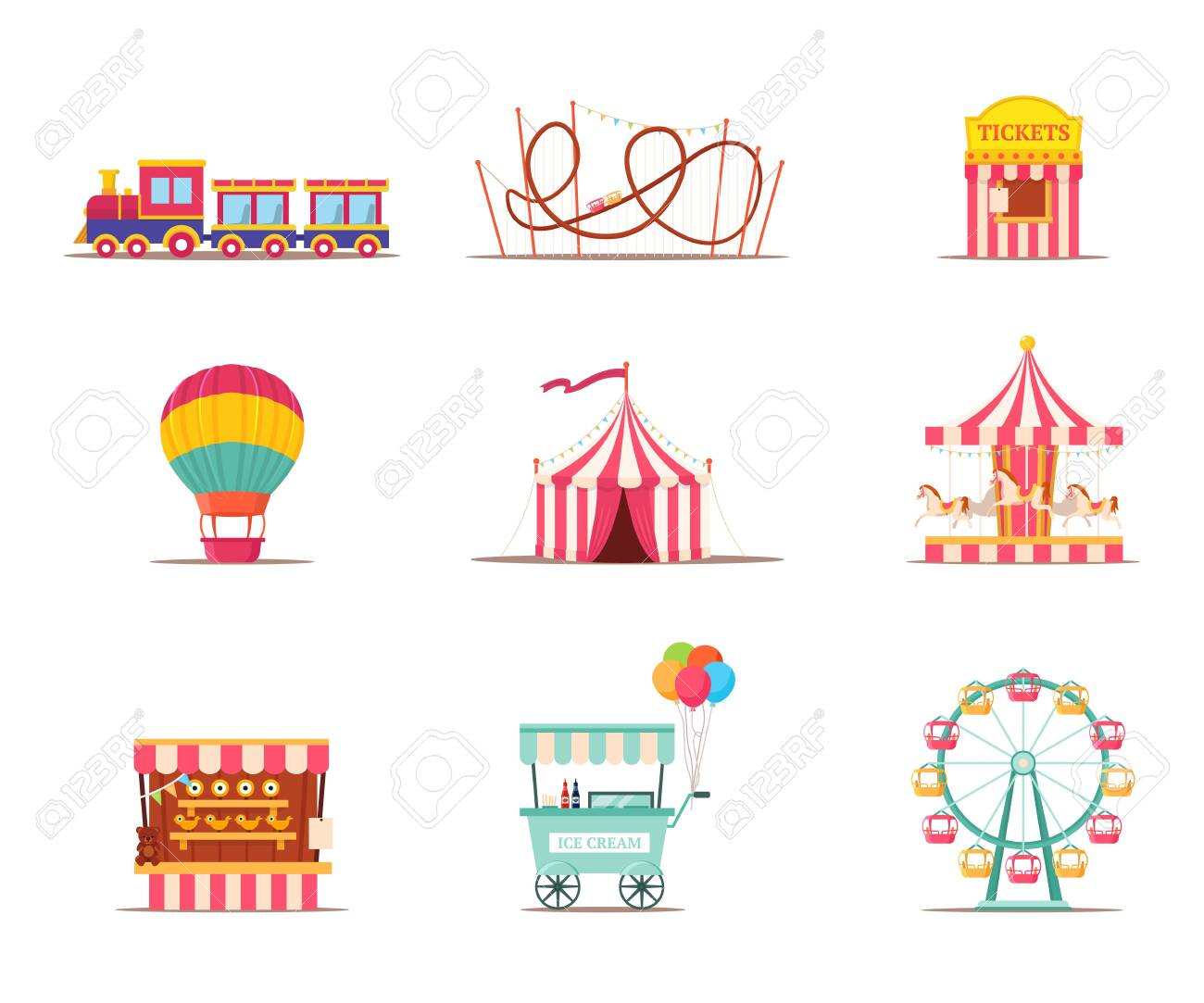 Amusement park attractions illustrations set isolated on white background - 150144298