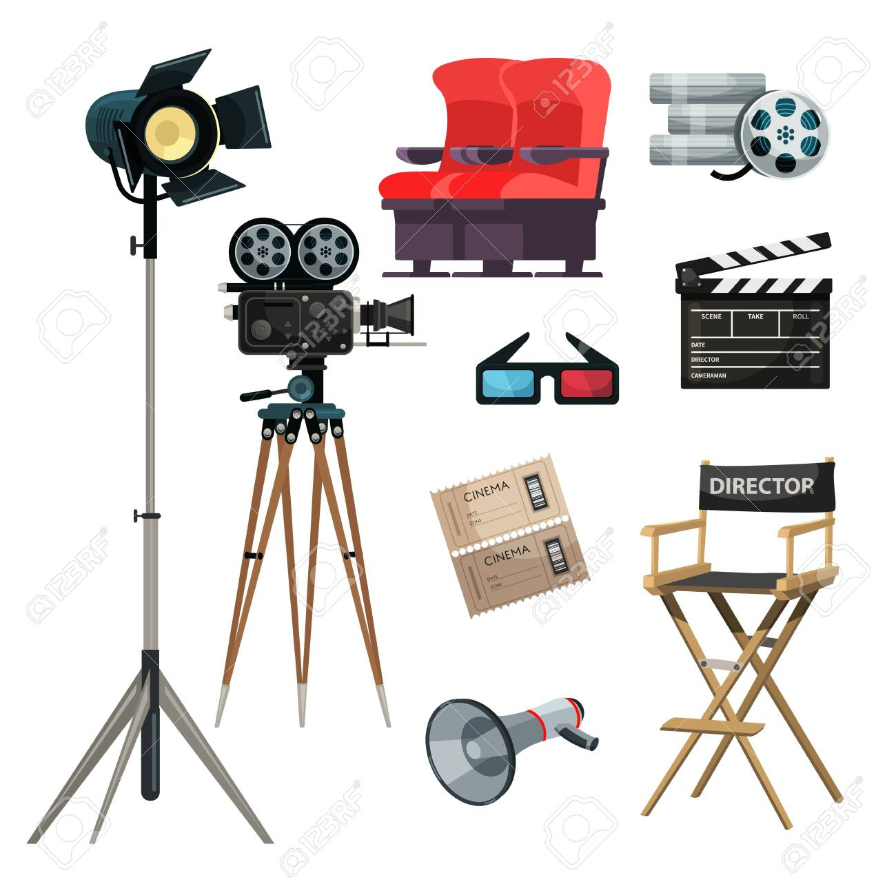 Cinematography items vector illustrations set. Movie directing, filmmaking. Cinema ticket, 3D glasses. Film strip, tape, director chair cliparts. Classic movie clapper, loudspeaker, camera - 152568723