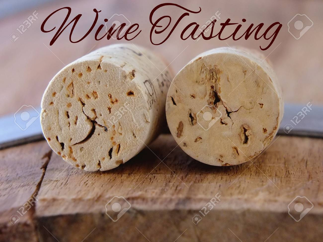 Image of two wine corks with lettering Standard-Bild - 48700107