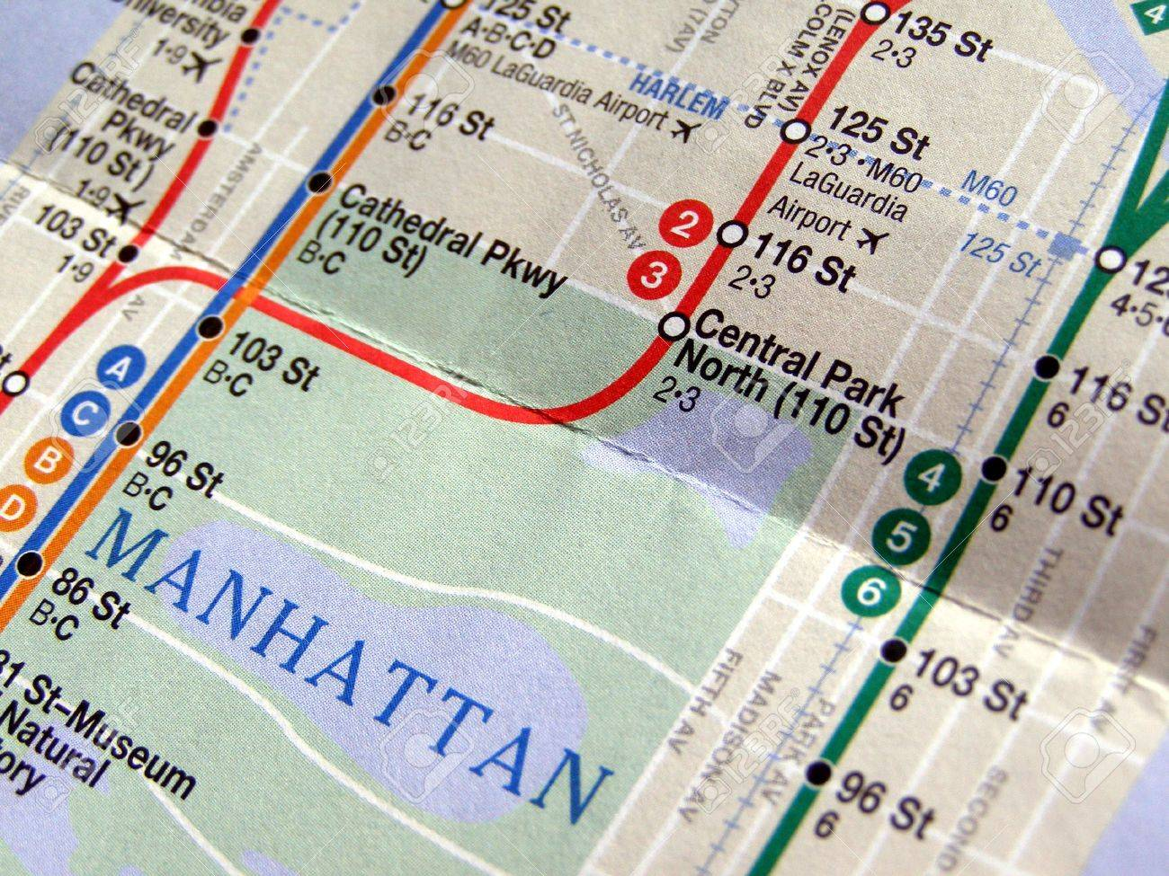 Subway Map Of The New York Underground Metro Tube Network Stock ...