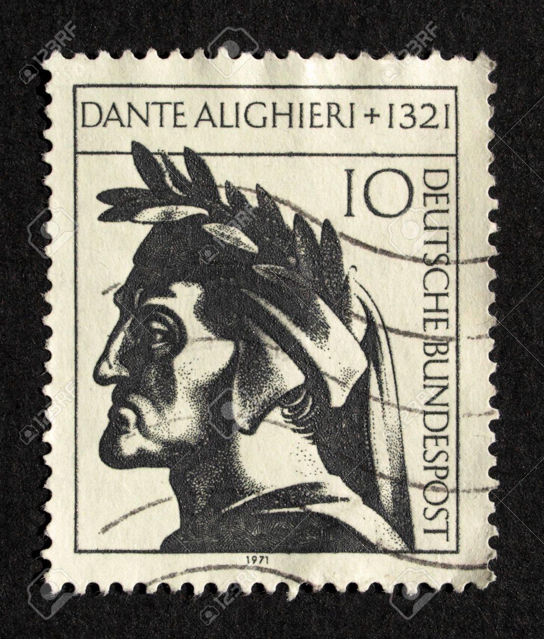 German Stamp With Italian Poet Dante Alighieri Stock Photo
