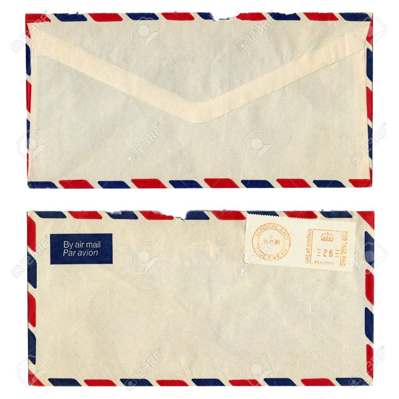 airmail letter with uk postage meter stamp stock photo 4088994