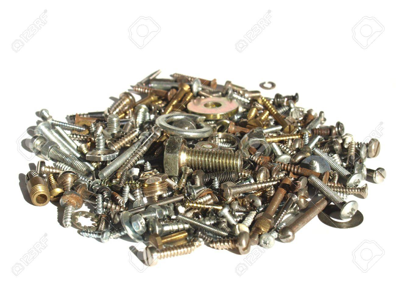 Industrial steel hardware bolts, nuts, screws isolated on white with copyspace Stock Photo - 4498746