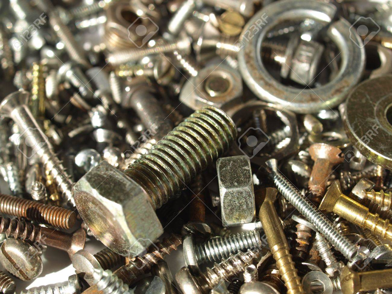 Industrial steel hardware bolts, nuts, screws Stock Photo - 4535509