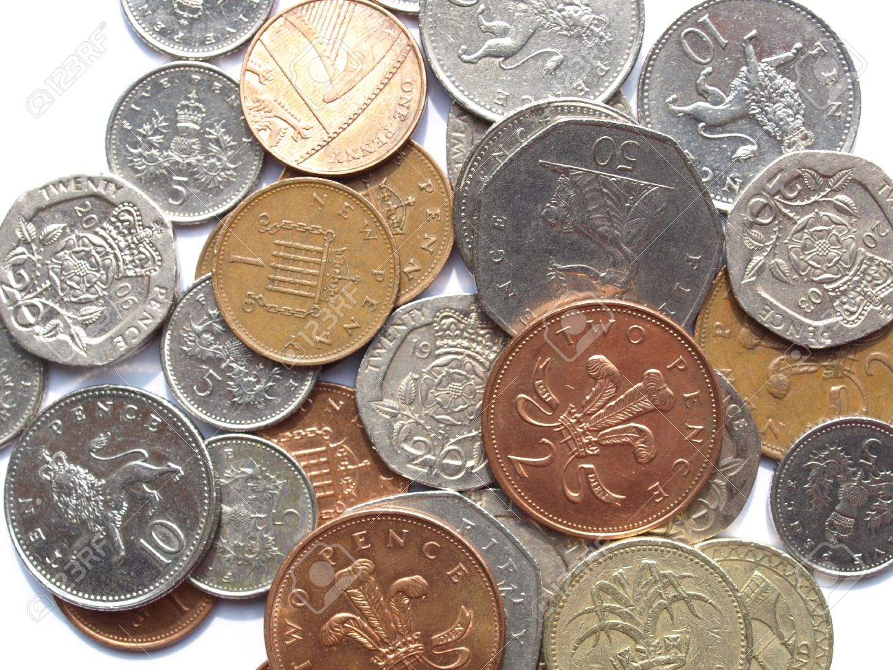 Range Of British Pound Coins (UK Currency) Stock Photo, Picture ...