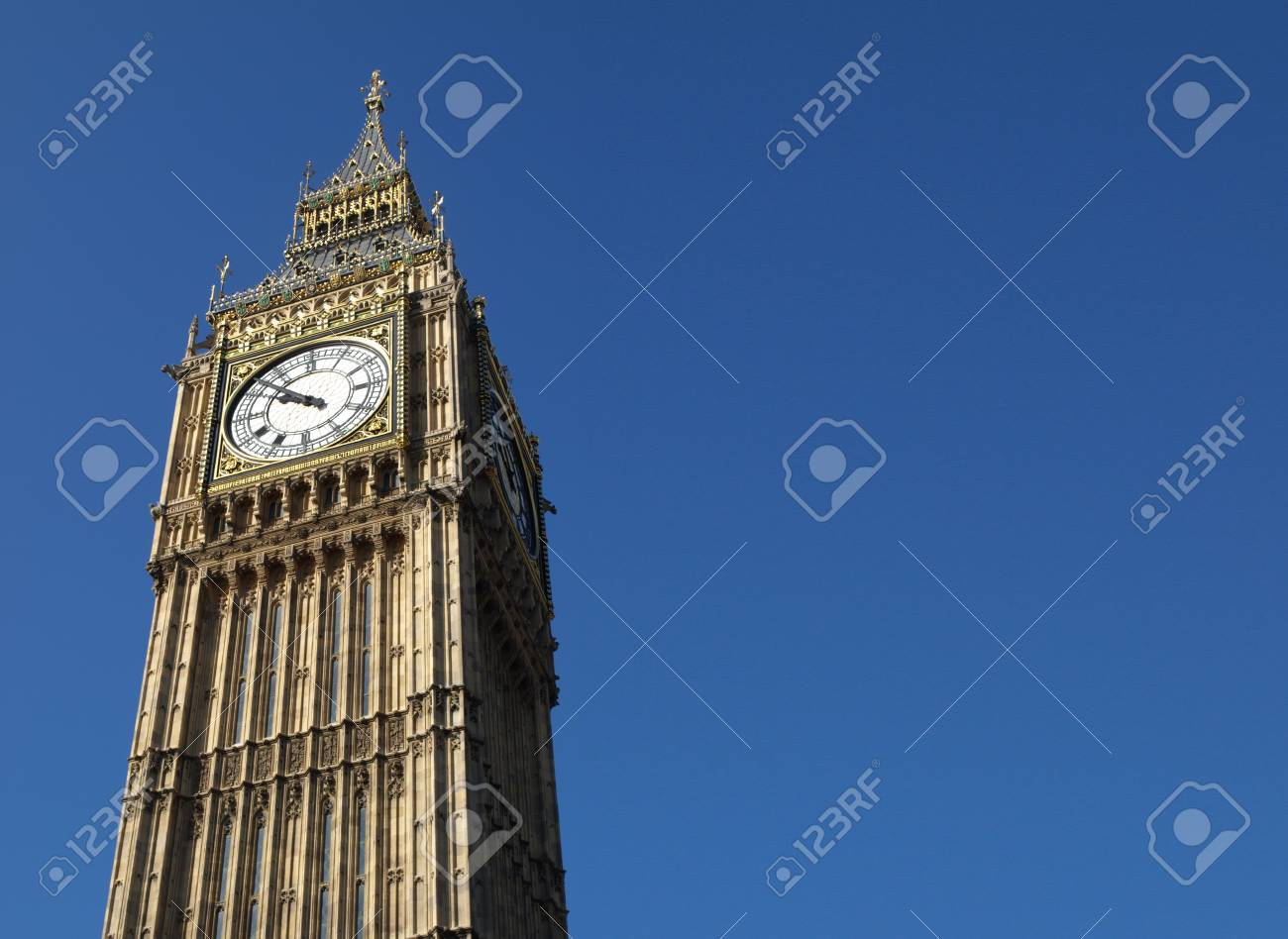 Big Ben at the Houses of Parliament, Westminster Palace, London, UK - with copyspace Stock Photo - 4935711
