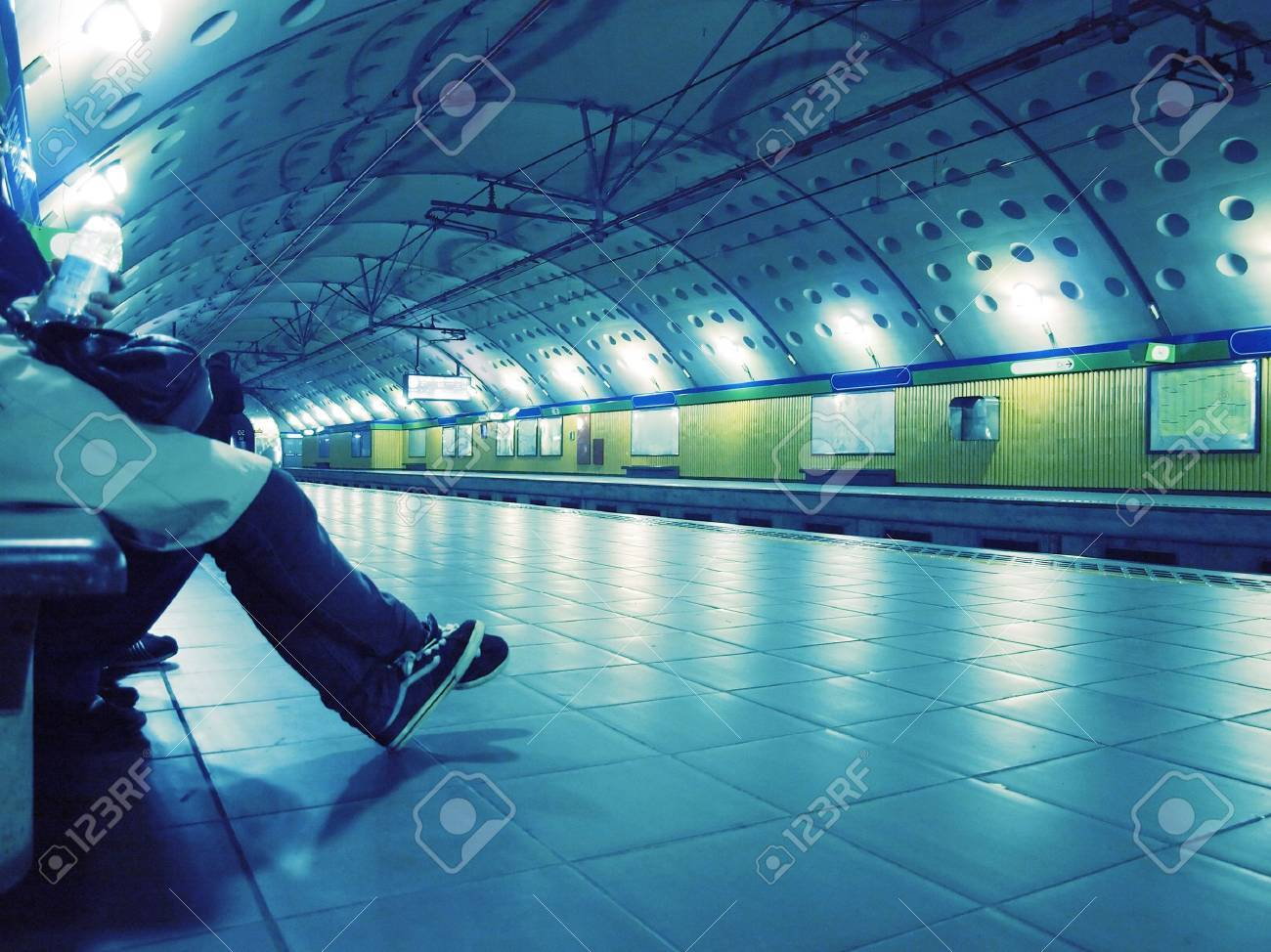 People waiting for the train at the tube station Stock Photo - 5109072