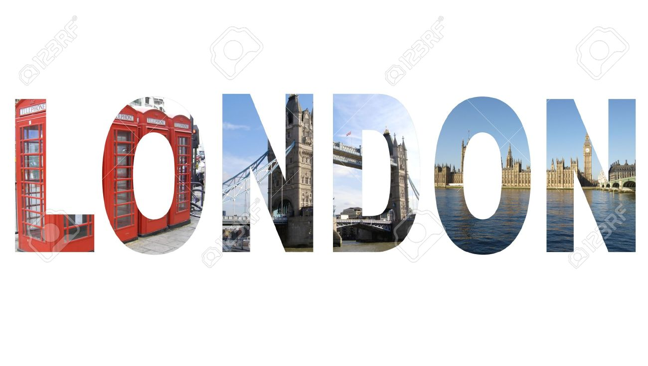London Text Written With Pictures Of Landmarks (all Pictures ...
