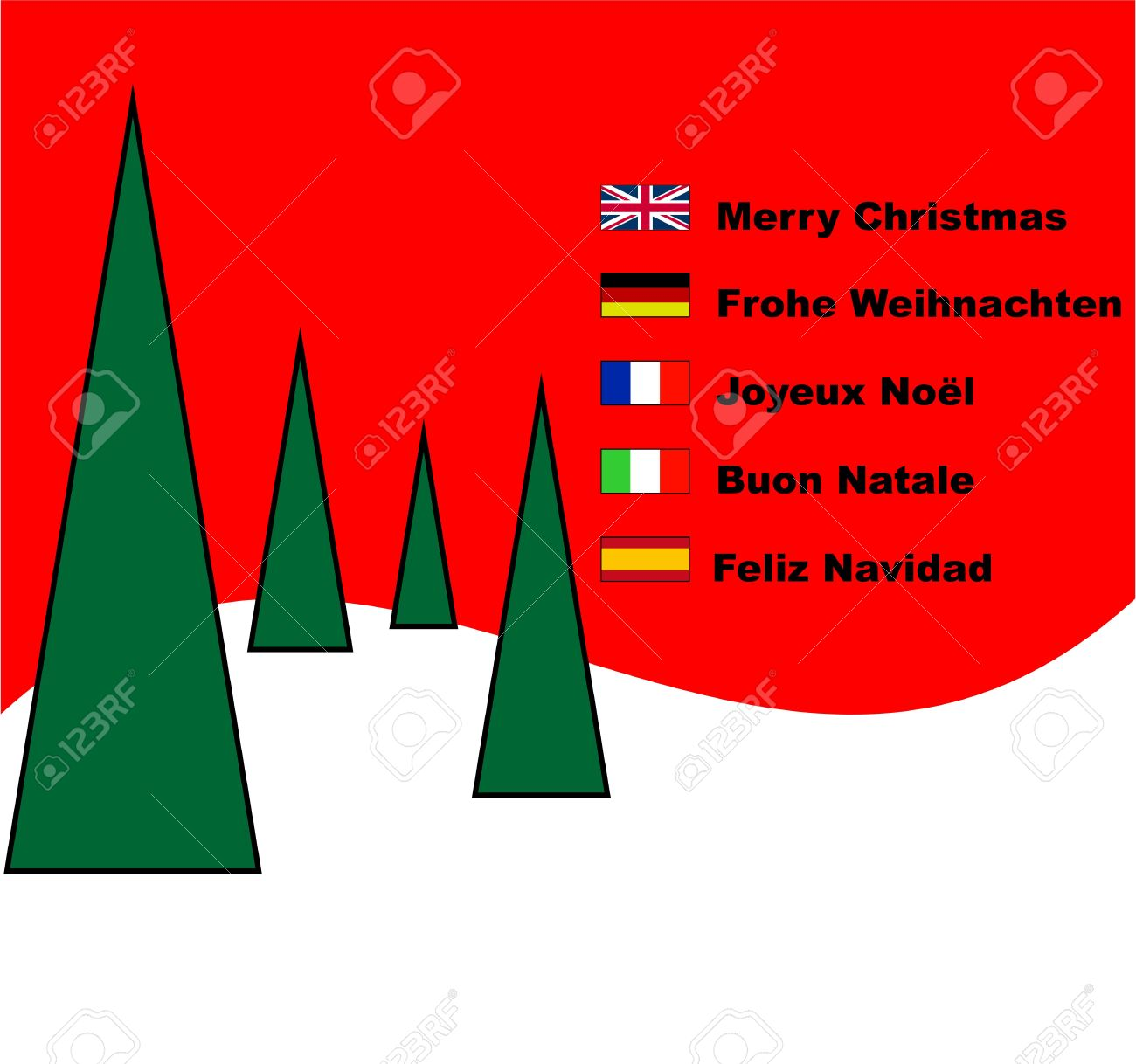 Multilingual Plain Modern Contemporary Merry Christmas Card Stock ...