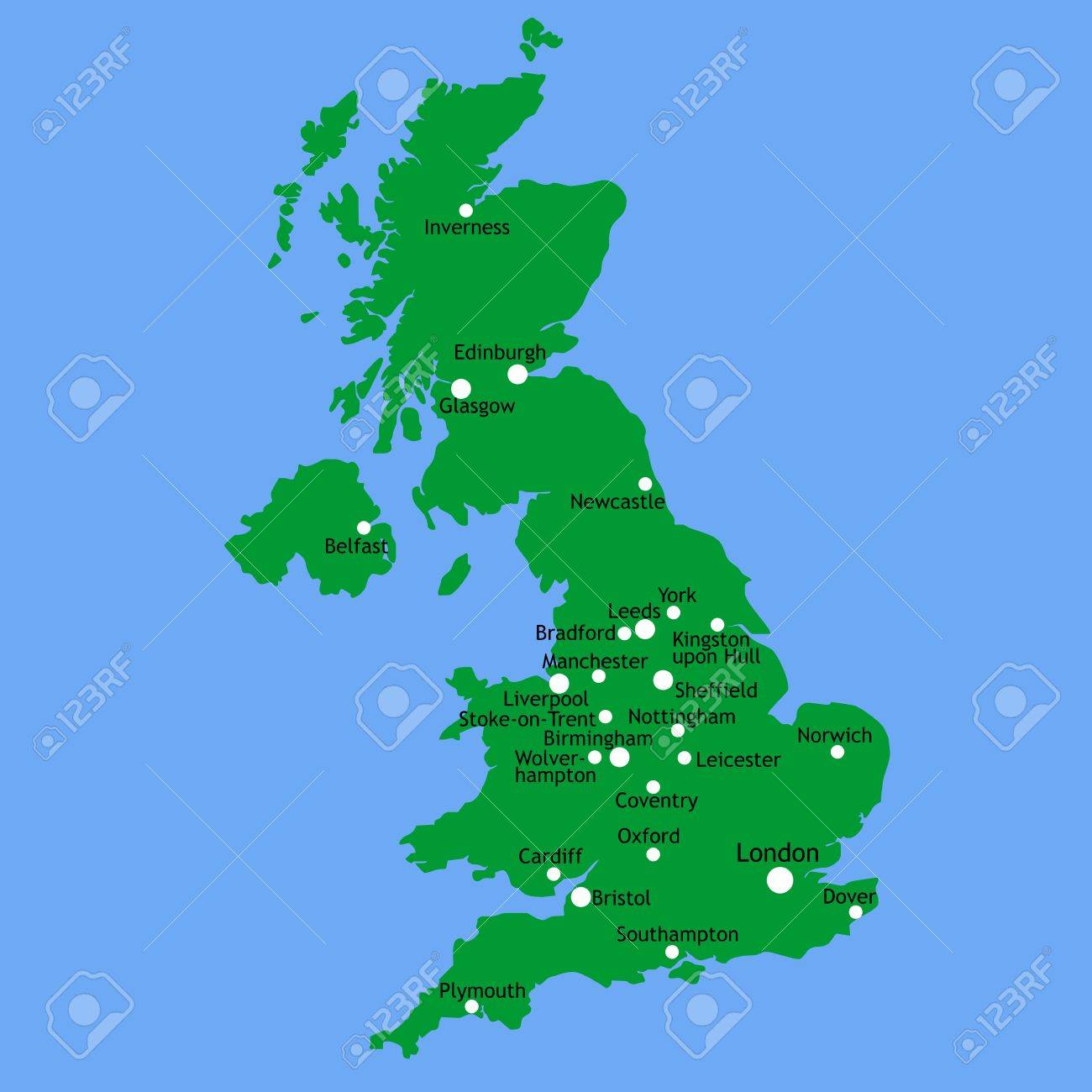 Map Of Uk And Cities.Uk Map With Main Towns And Cities
