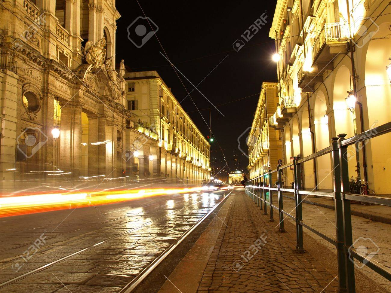 Via Po, ancient central baroque street in Turin (Torino) - at night Stock Photo - 6676941