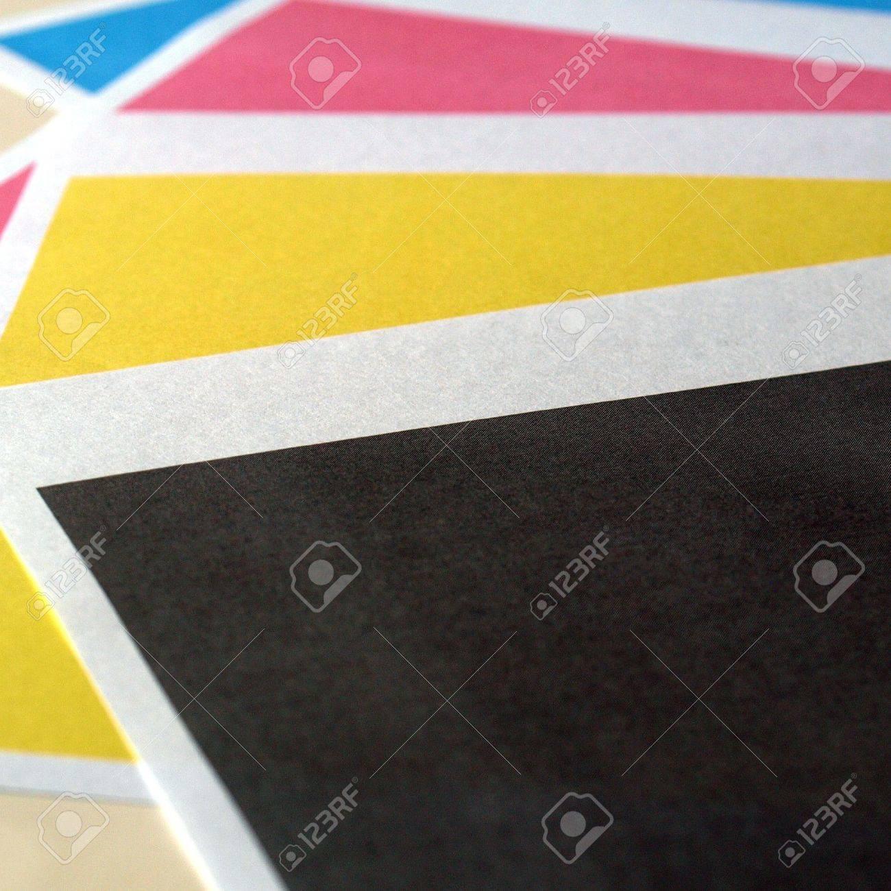 Prueba De Impresión De Impresora Color De Negros Tonos Amarillos ...