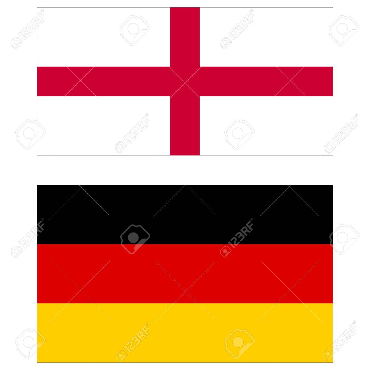 england vs germany flags of the two countries stock photo