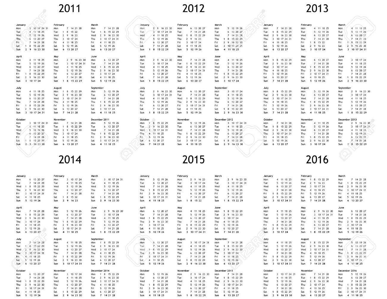Multi Year Calendar 2011 2012 2013 2014 2015 2016 Stock Photo ...