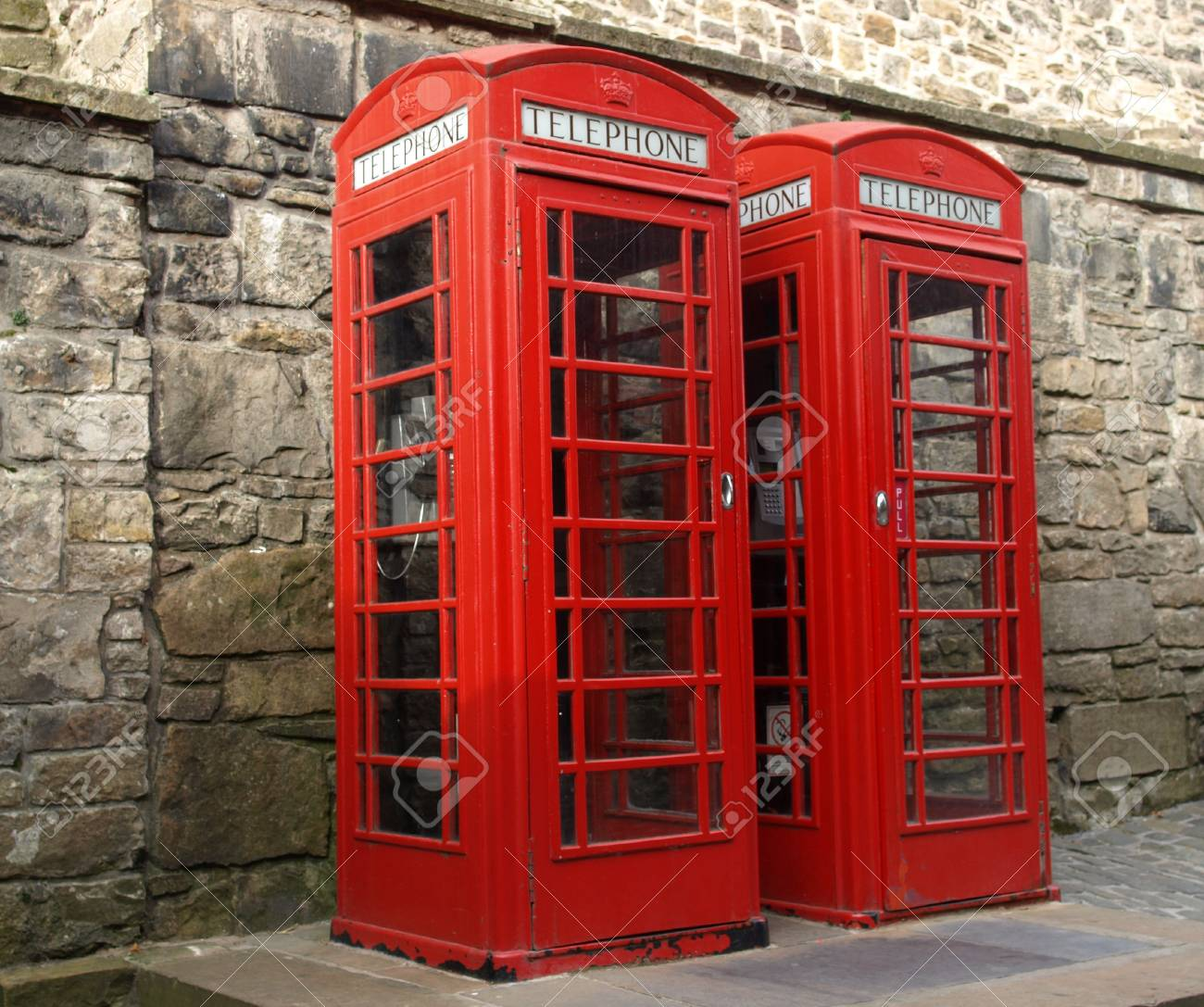 Traditional red telephone box in London, UK Stock Photo - 8011401
