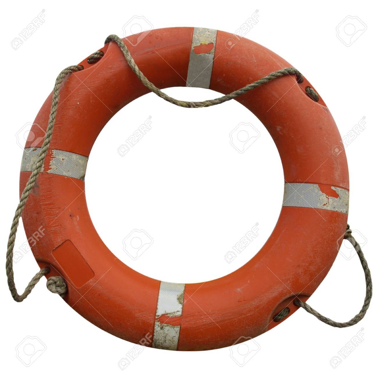A life buoy for safety at sea - isolated over white background Stock Photo - 8070985