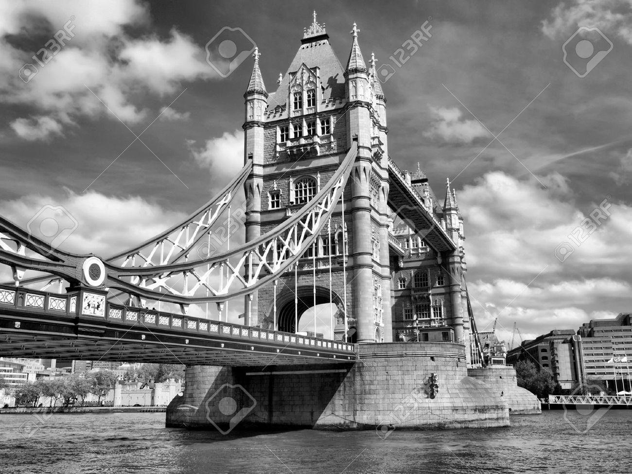 Tower Bridge on River Thames, London, UK - high dynamic range HDR - black and white Stock Photo - 8511276