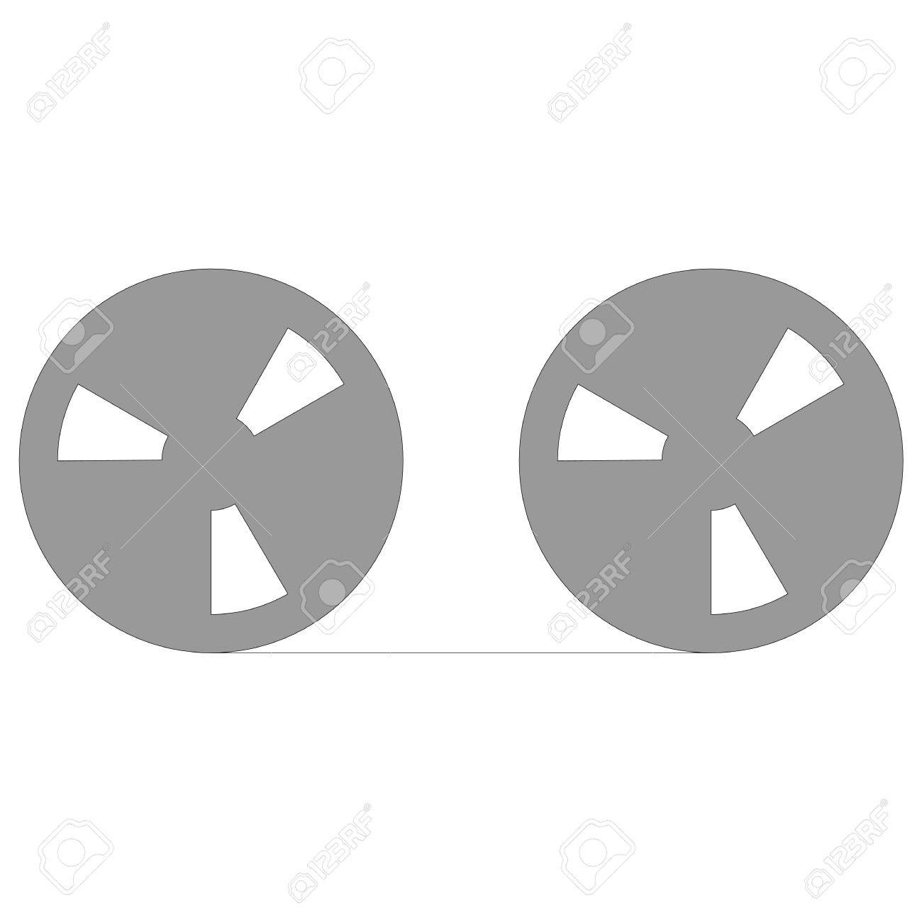 Tape Reel Symbol For Computer Data Storage Or Audio Recording Stock