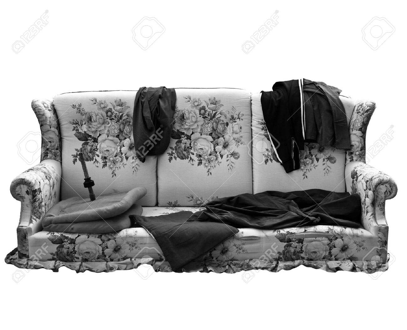 Old Sofa Old Sofa With Clothes Used By Poor Homeless Hobo Stock Photo
