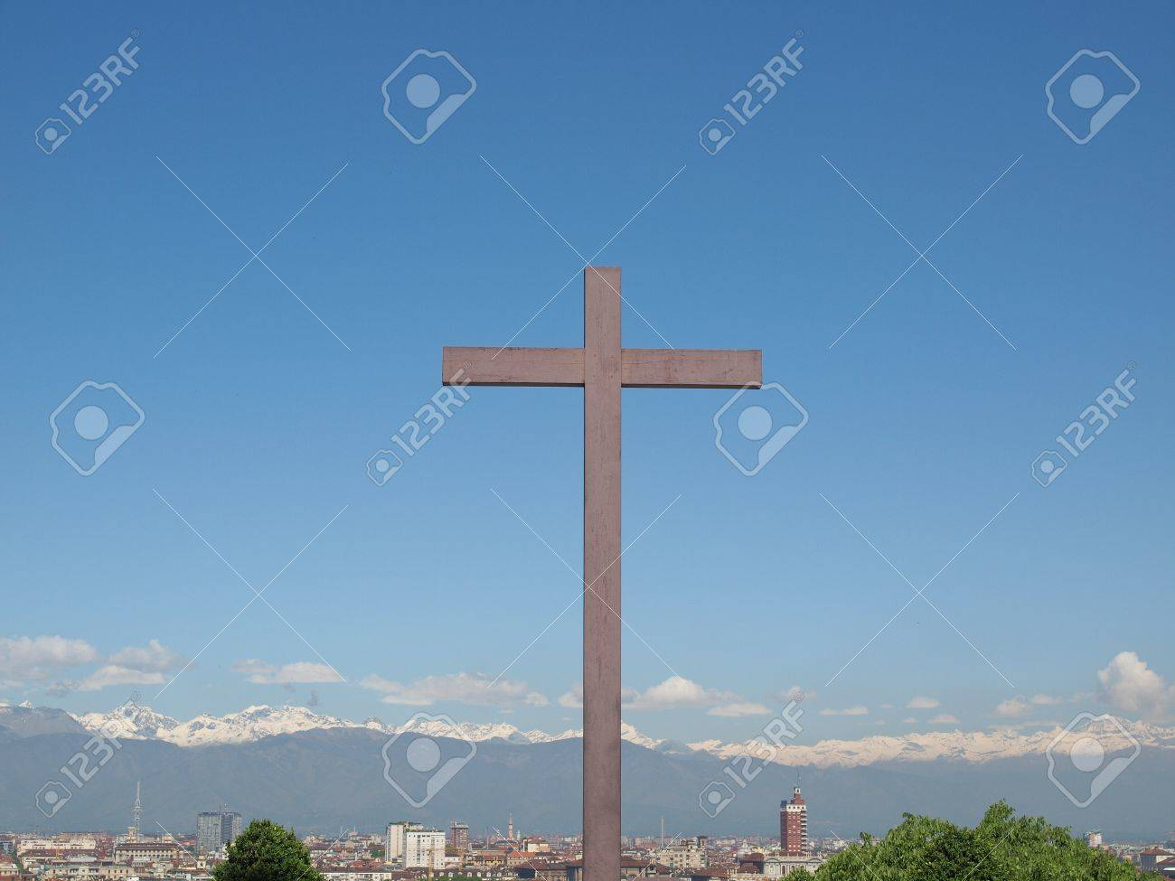 A Wooden Christian Cross Symbol Of Christianity On The Turin Stock